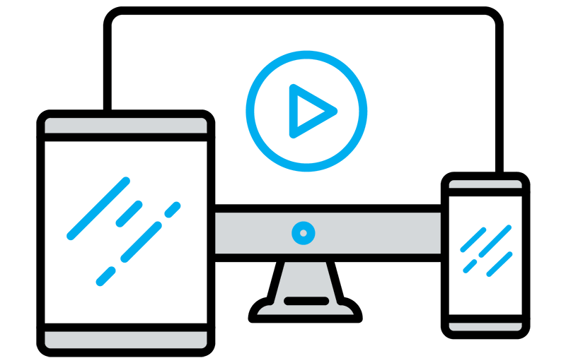 Illustration of computer, mobile, and tablet devices able to play videos